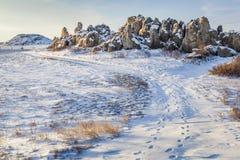 Sandstone outcropping on prairie Royalty Free Stock Photos