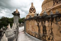 Buddhist Temple : Sandstone Pagoda in Pa Kung Temple at Roi Et of Thailand royalty free stock image
