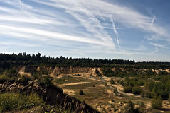 Sandstone quarry near Opava city with nice sky Royalty Free Stock Photo