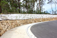 Sandstone retaining wall Stock Image