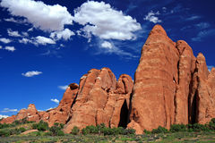 Sandstone rock. Red sandstone rock formations in Arches National Park, Utah royalty free stock photo
