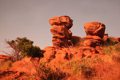 Sandstone rock. Formation in Magaliesburg area, North West Province, South Africa at sunrise royalty free stock images