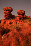Sandstone rock. Formation in Magaliesburg area, North West Province, South Africa at sunrise royalty free stock image