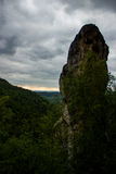 Sandstone rock with clouds. Landscape with cloudy weather. View in Czech Paradise, Suché skály Stock Photo