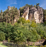 Sandstone rock formation above Svojkov village in Czech republic Stock Images