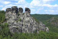 Sandstone rock formation at Bastei, Germany Royalty Free Stock Image