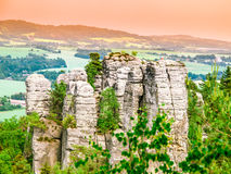 Sandstone rock formation group in Bohemian Paradise, aka Cesky Raj, Czech Republic, Europe Stock Photography