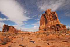 Sandstone rock formations. Sandstone monuments at Park Avenue in Arches National Park near Moab, Utah Royalty Free Stock Photos