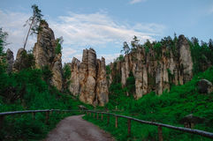 Sandstone rock formations in Bohemian Paradise (Cesky Raj), Cze royalty free stock photo