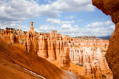 Sandstone rock formations at Bryce Canyon in Utah. Beautiful scenery of sandstone rock formations at Bryce Canyon National Park in Utah, USA Stock Photos