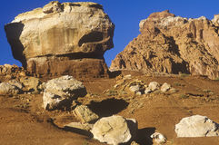 Sandstone rock formations inside Capitol Reef National Park in southern UT at sunset Stock Image