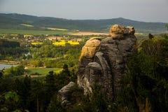 Sandstone rock - half shadow and sun. Landscape view in Czech Paradise, Prachovské skály Royalty Free Stock Photography