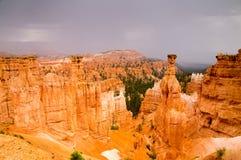 Sandstone rock hoodoos of Bryce Canyon. Bryce Canyon National Park, Utah USA in the rain Royalty Free Stock Image