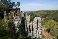 Prachovske skaly in Bohemia paradise, Eastern Bohemia, Czech Republic. Sandstone rock towers Prachovske skaly in Bohemia paradise, Eastern Bohemia, Czech Stock Photo
