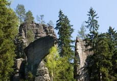 Sandstone rock Teplicke skaly , Eastern Bohemia, Czech Republic. Sandstone rock towers Teplicke skaly in the Eastern Bohemia, Czech Republic Royalty Free Stock Photos