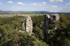 Sandstone rocks around Hruba Skala Castle in Bohemian Paradise Stock Images