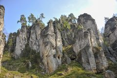 Sandstone rocks Bohemian Paradise. Cesky Raj Bohemian Paradise sandstone formations in the forest. Stunning piece of nature for tourists, hikers and climbers stock image