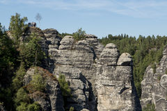 Sandstone rocks, forests and blue sky in the Germany Switzerland royalty free stock photos