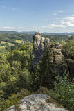 Sandstone rocks, forests and blue sky in the Germany Switzerland royalty free stock photography