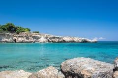 Sandstone rocks of the Mediterranean Sea. Crystal clear waters and sandstone rocks of the Mediterranean Sea, Cyprus Stock Photo