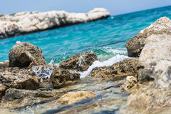 Sandstone rocks of the Mediterranean Sea, Cyprus. Crystal clear waters and sandstone rocks of the Mediterranean Sea, Cyprus Stock Image