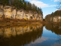 Sandstone rocks mirroring in the lake Royalty Free Stock Photography