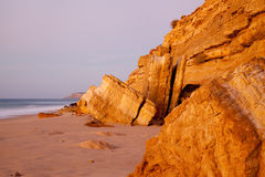 Sandstone Rocks at Salema Portugal Royalty Free Stock Photography