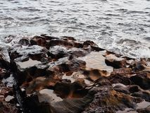 Sandstone Rocks in Sydney Harbour, Australia. Sydney Harbour sea water washing over weathered and eroded textured sandstone rocks, Sydney, NSW, Australia stock photography