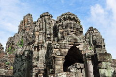 Sandstone sculptures of Bayon Temple in Cambodia Stock Photo