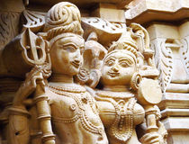 Sandstone sculptures of people in India stock image