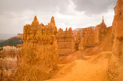 Sandstone sculptures after the rain in Bryce Canyon. Bryce Canyon National Park, Utah USA in the rain Stock Photos