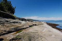 Sandstone shoreline, Galiano Island, BC Royalty Free Stock Images