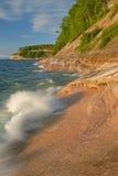 Sandstone Shoreline Lake Superior. Pictured Rocks National Lakeshore, Michigan's Upper Peninsula, USA Royalty Free Stock Photos