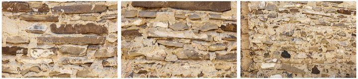 Sandstone slab old wall stacked mortar collage stock photography