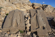 Sandstone Steles on the western platform at Mt Nemrut, Turkey. These steles were placed over the graves of deceased people in ancient times. The Mt Nemrut Stock Images