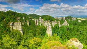 Sandstone towers in Hruboskalsko Rock Town, Bohemian Paradise nature reserve, Czech republic Royalty Free Stock Photo