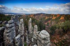 Prachov rocks in Bohemian paradise. Sandstone towers in Prachov rocks in Bohemian paradise in eastern Bohemia royalty free stock photo