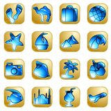 Sandstone vacation icons Royalty Free Stock Images