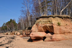 Sandstone in Vidzeme. The Baltic Sea in Vidzeme, Latvia Royalty Free Stock Photography