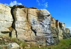 Sandstone Wall. Sandstone rock formations on the east side of Redmond, OR royalty free stock photography