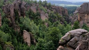 Sandstone walls from a viewpoint in Broumov, Czech Republic. royalty free stock photos