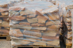 Sandstones on pallet. Drywall stones from German sandstone on a pallet ready for processing Stock Photos
