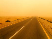 Sandstorm. In Jordan. Photo taken near Palmyra by the window of the bus stock photography