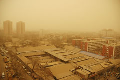 Sandstorm in beijing Stock Photo