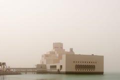 Sandstorm in Doha, Museum of Islamic Art, Qatar royalty free stock photography
