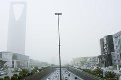 Sandstorm i den Riyadh staden Royaltyfri Bild