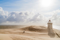 Sandstorm at the lighthouse Royalty Free Stock Photography