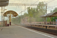 Sandstorm on railway station Royalty Free Stock Photo