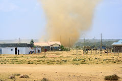 Sandstorms. On the outskirts in the village of the  Masai Mara national park, Kenya Stock Images