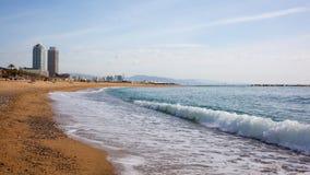 Sandstrand i Badalona catalonia arkivfoto
